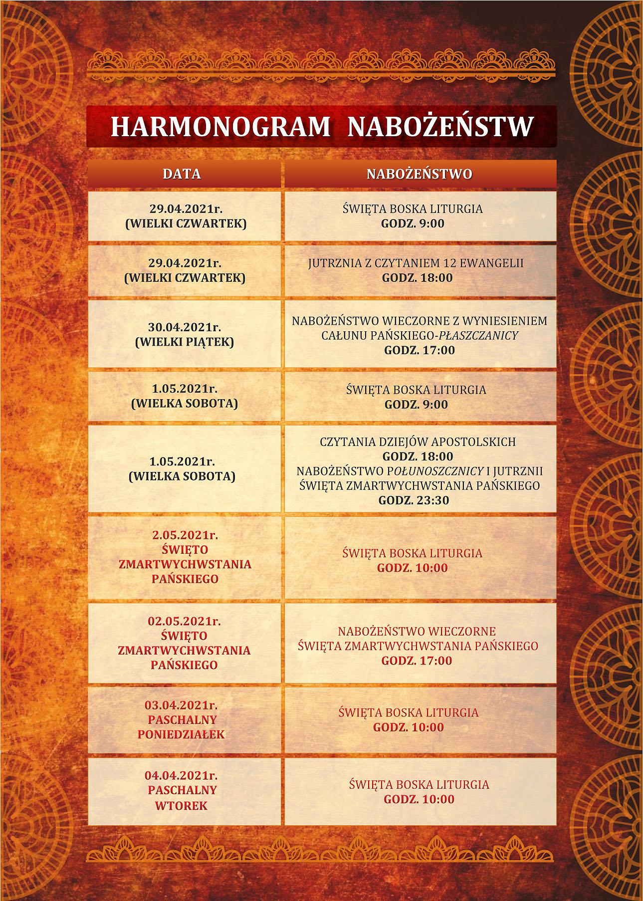 Harmonogram nabożeństw w Parafii Prawosławnej Św. Trójcy w Lubinie